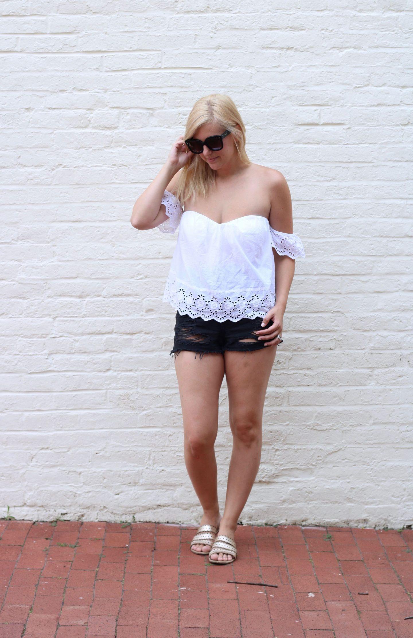 nordstrom bp, distressed black denim shorts, topshop denim,