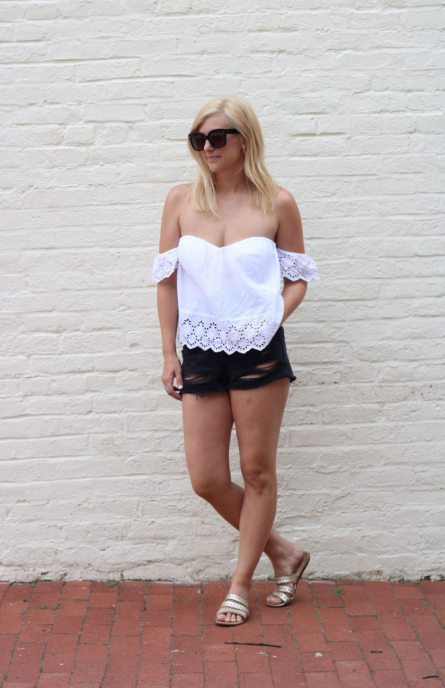 distressed denim shorts, topshop shorts, nordstrom, celine audrey sunglasses