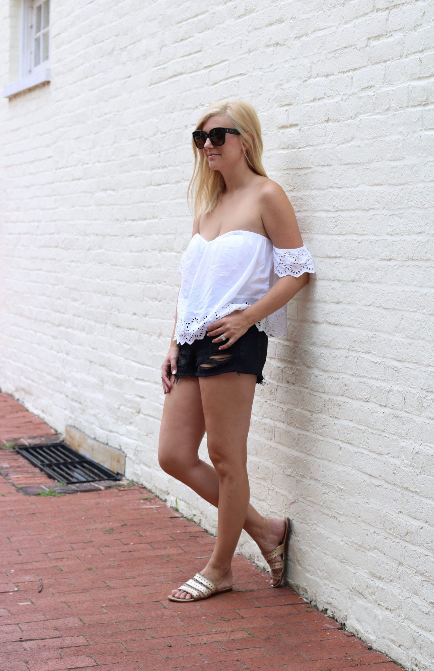 kate spade slide sandals, nordstrom bp, topshop distressed shorts, celine audrey sunglasses