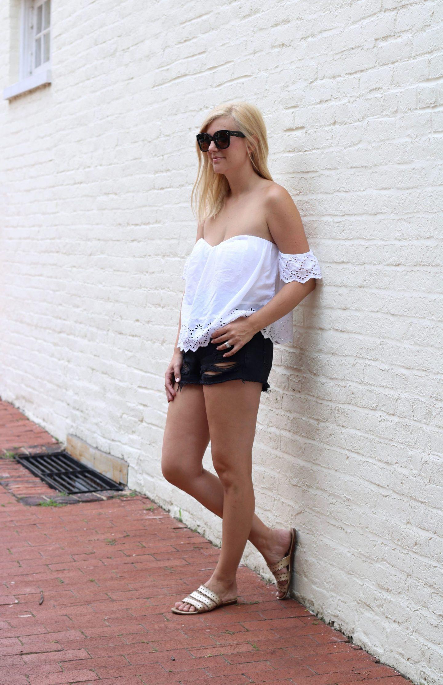 kate spade slide sandals, nordstrom bp, topshop distressed shorts, celine audrey sunglasses
