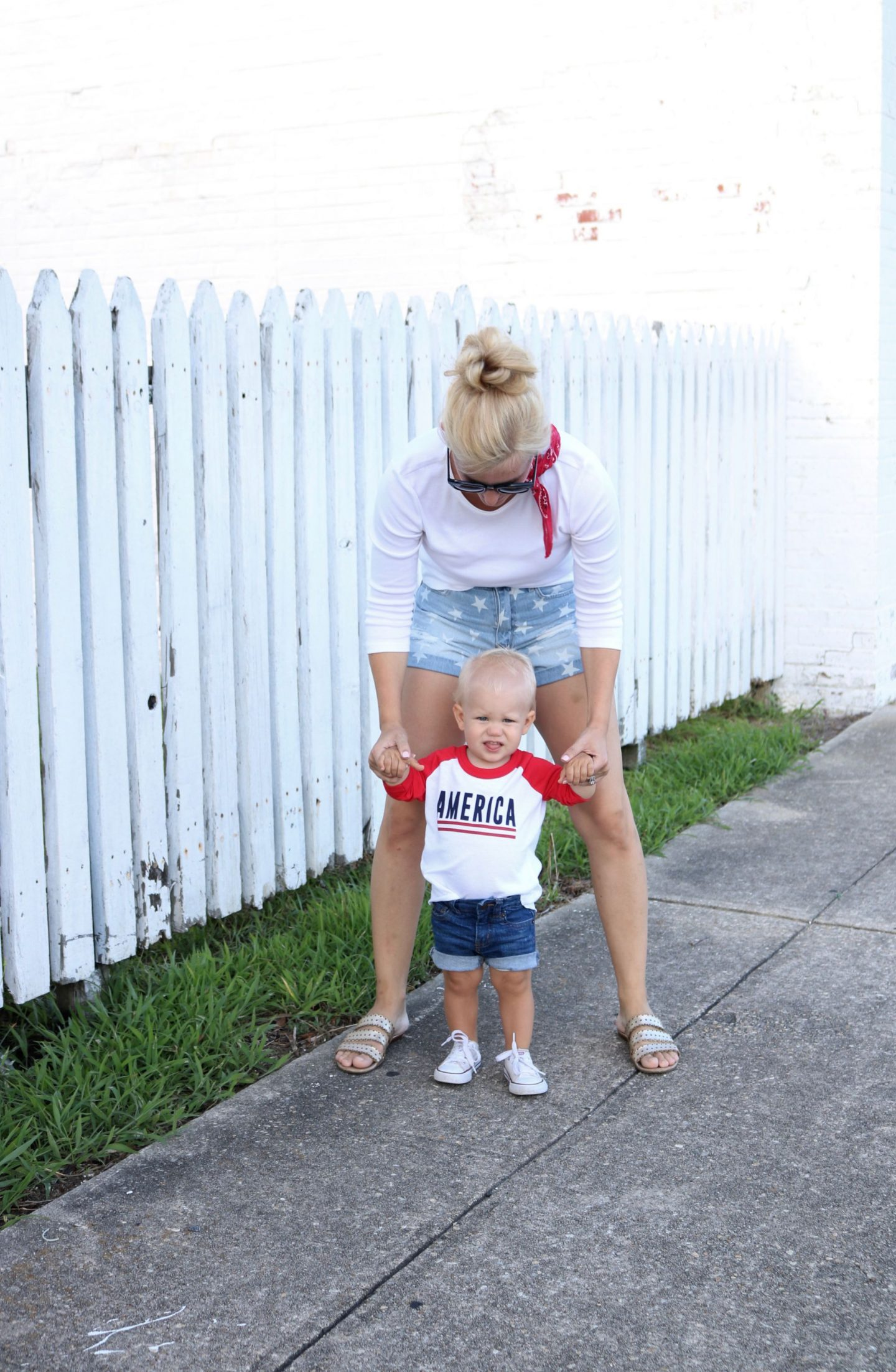 ily couture, america, ily couture toddler, bandana, mom son style, denim shorts, toddler converse