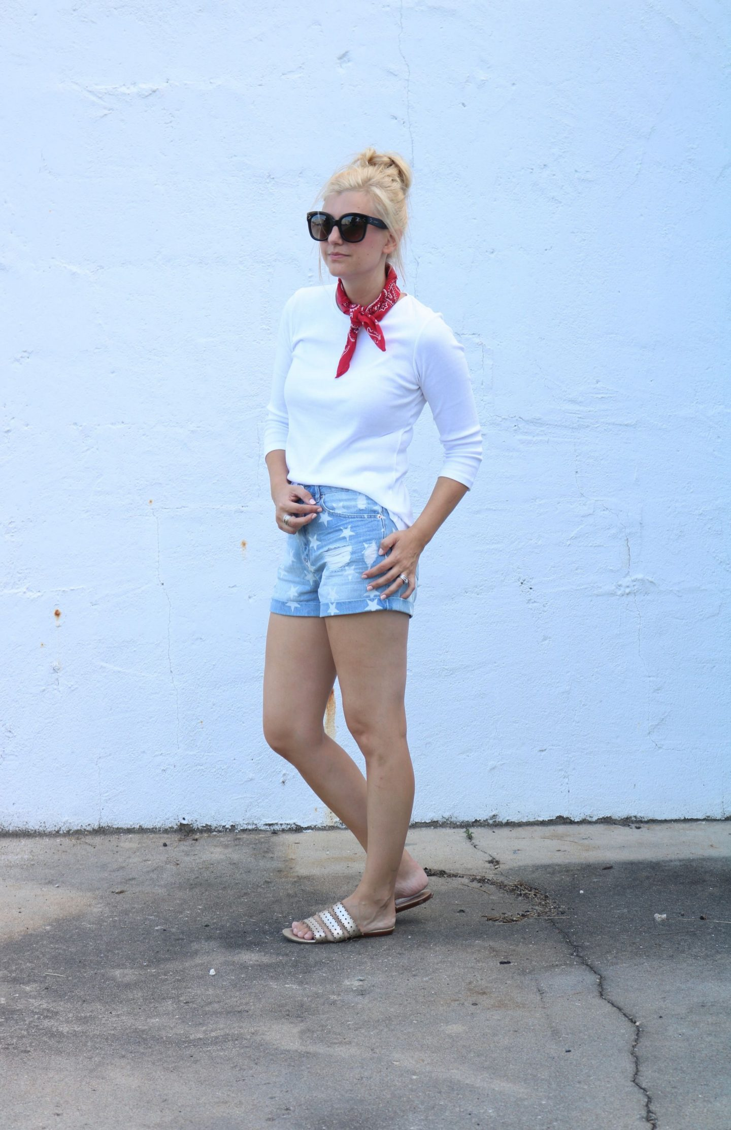 forever 21 denim star shorts, red bandana, celine audrey sunglasses