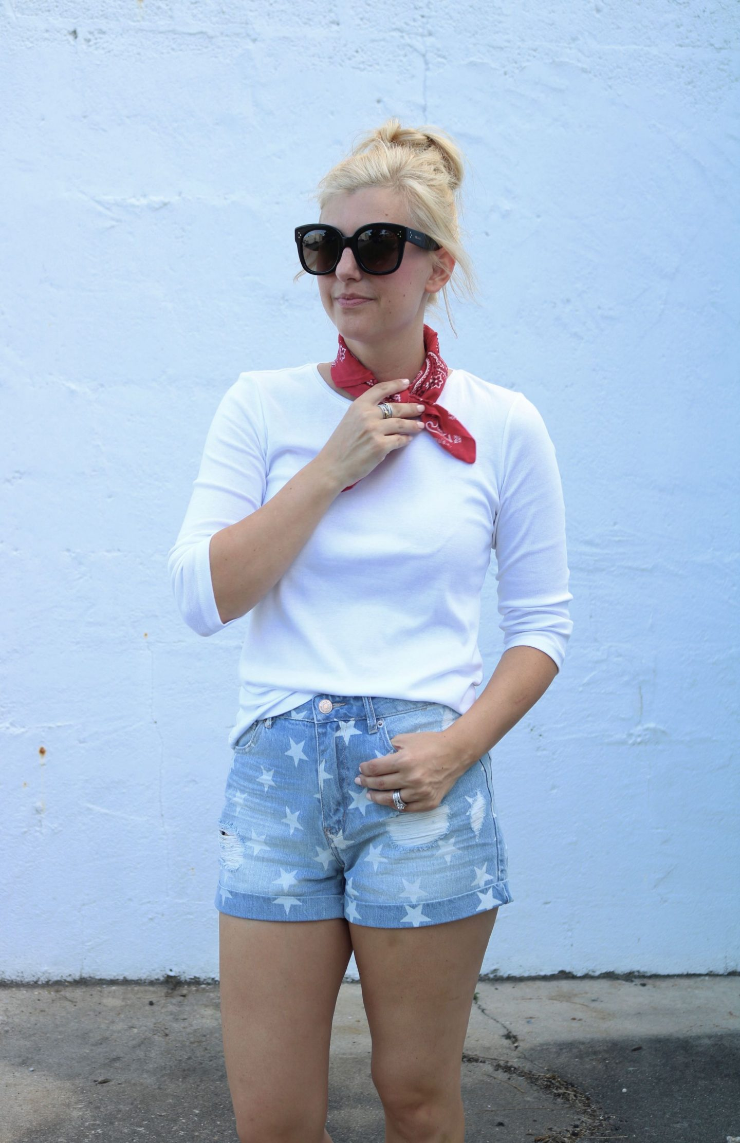 ily couture, star denim shorts, celine audrey sunglasses, gold kate spade slides, ily couture toddler, america