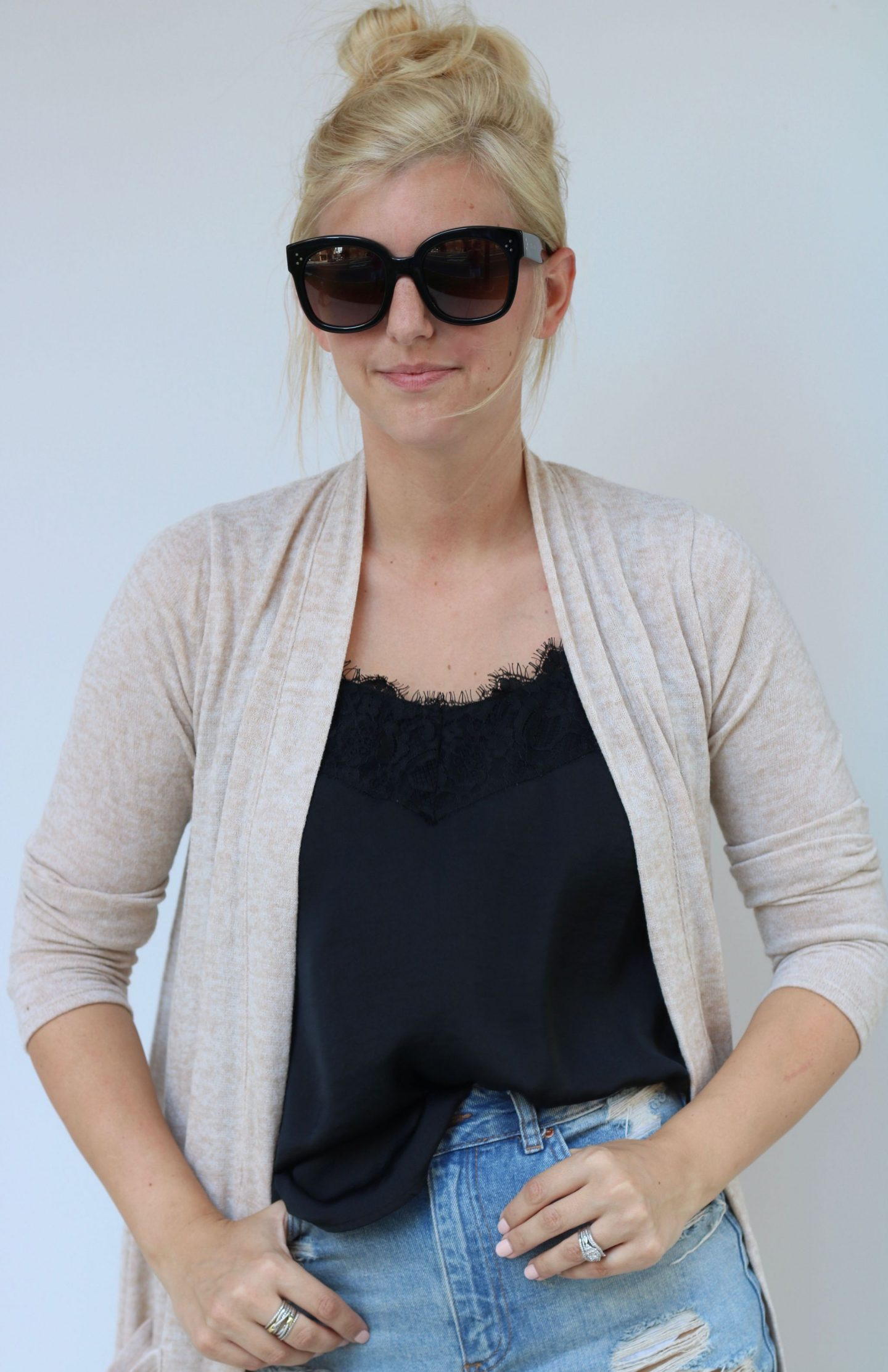 topbun, lace cami, celine audrey sunglasses
