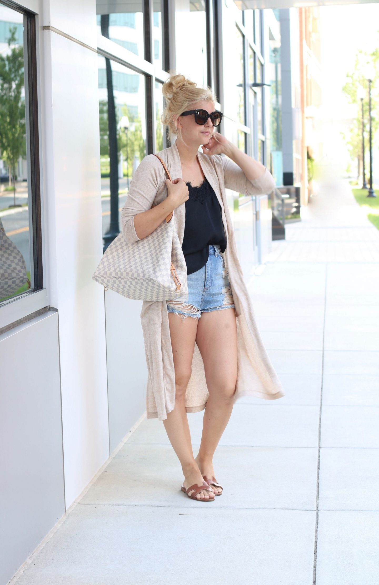 long cardigan, topshop distressed shorts, whowhatwear collection lace cami, celine audrey sunglasses