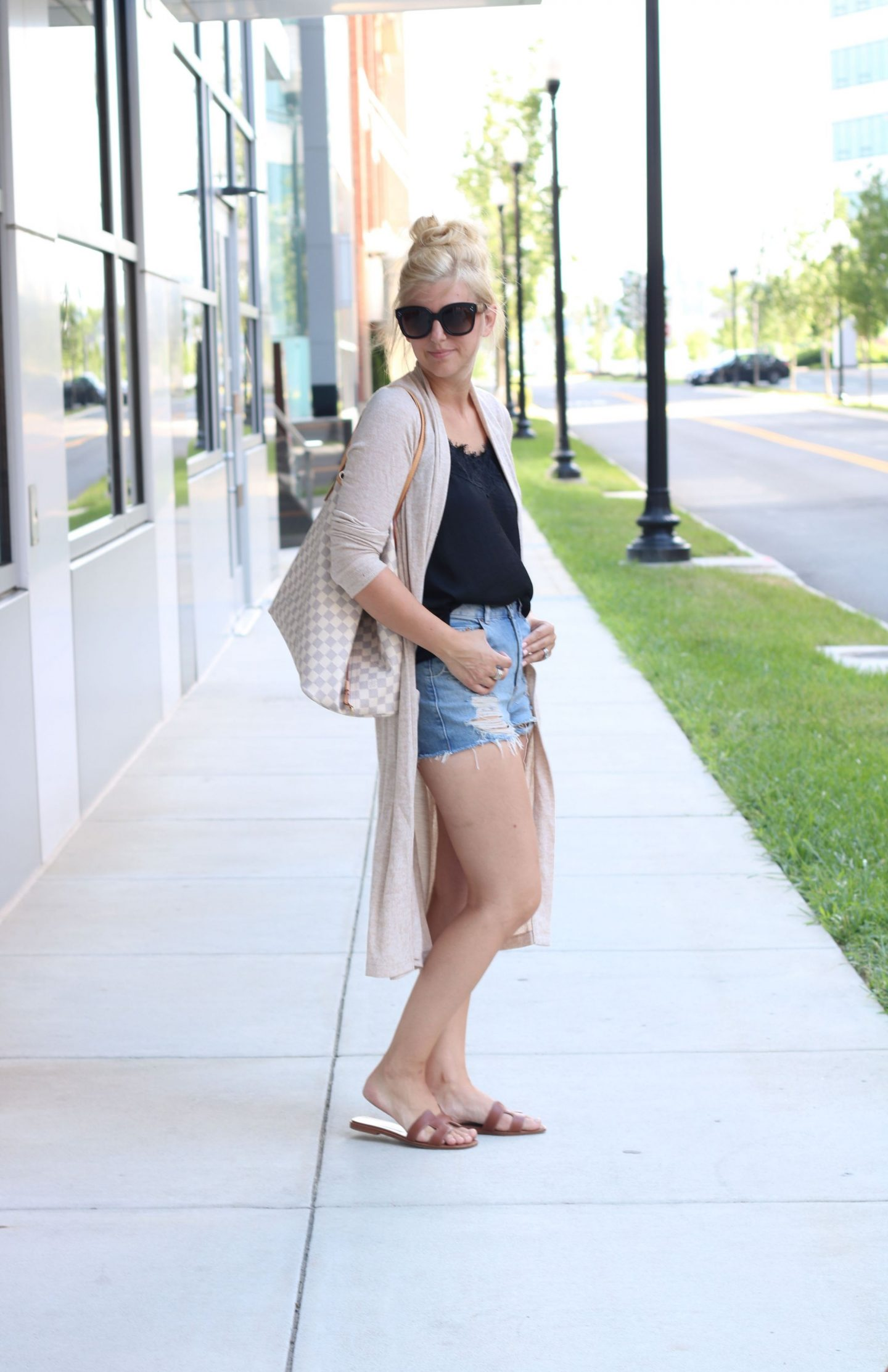 topshop distressed denim shorts, abercrombie long cardigan, celine sunglasses, top bun