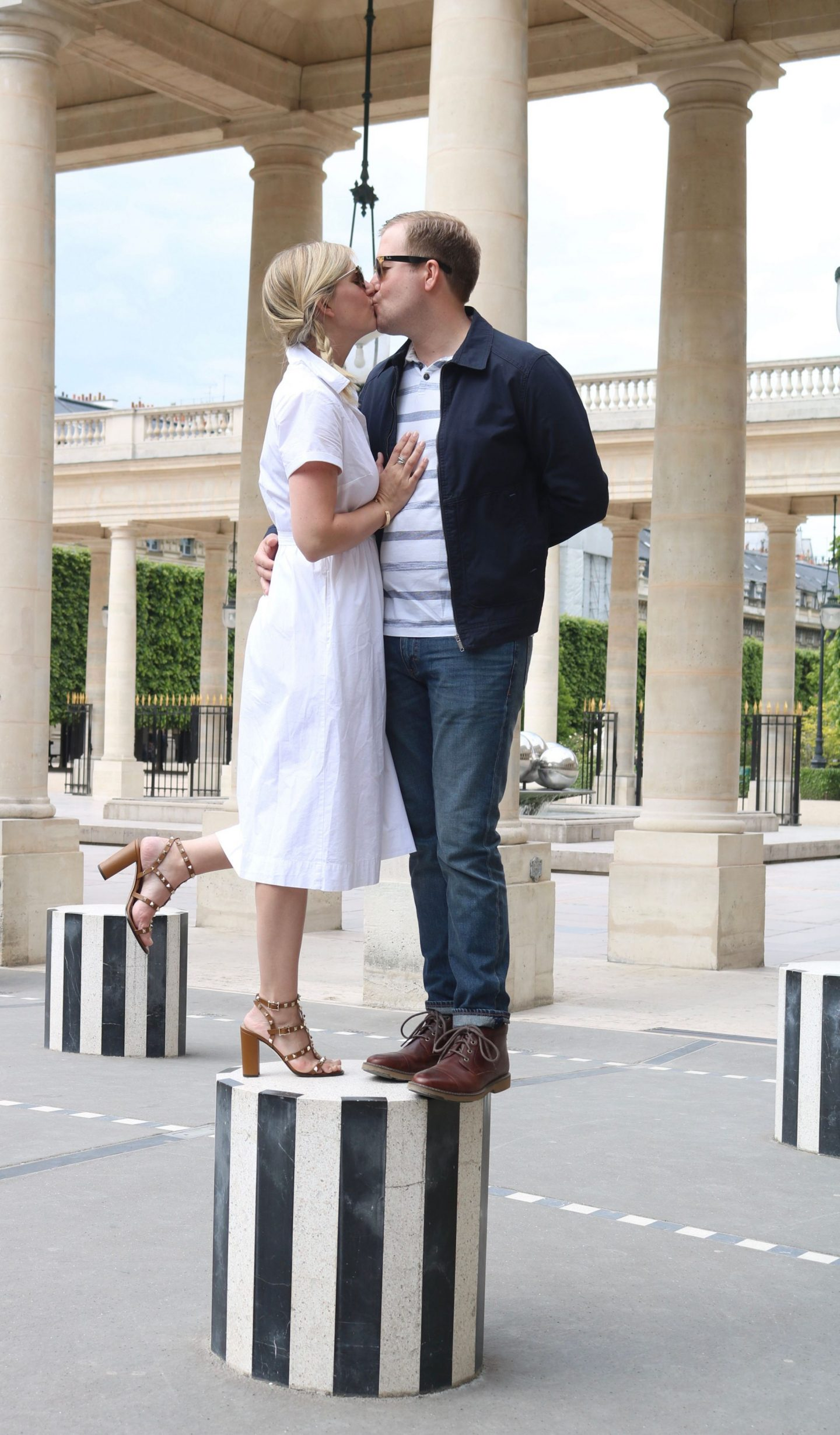 palaceroyal,couplesinparis,whitedress,rockstudheels