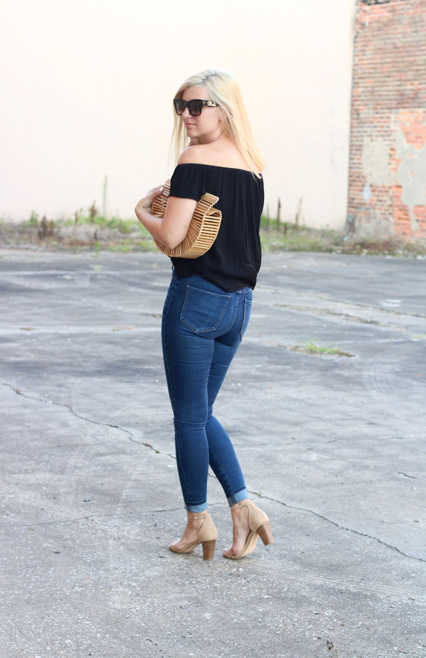 restricted-shoes, skinny-leg-denim, off-the-shoulder-top, celine-catherine-sunglasses