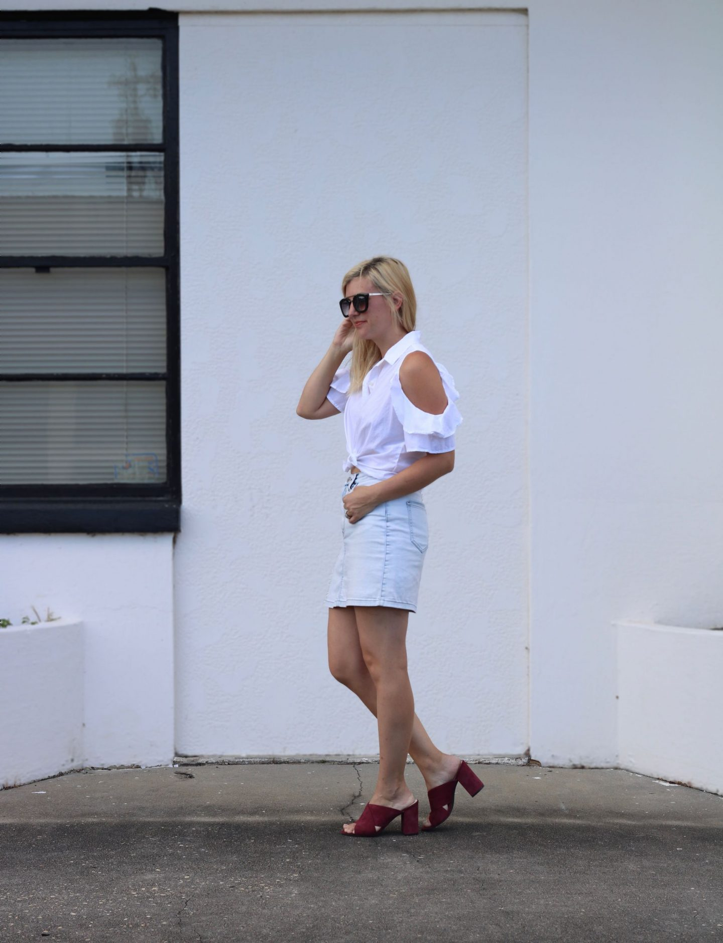 denim skit, auburn mules, white off the shoulder blouse, ily couture sunglasses