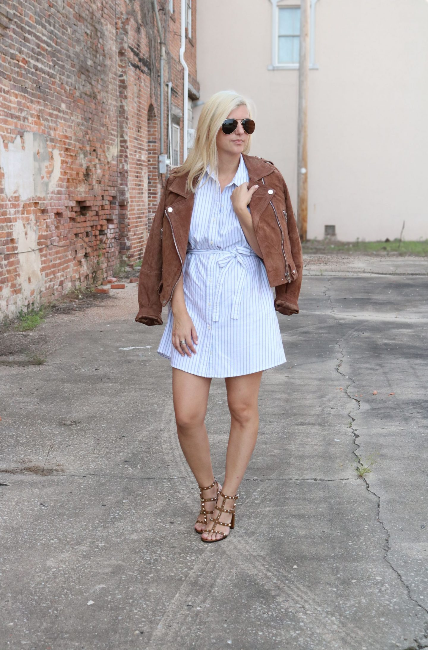 shirt dress with leather jacket, settling southern