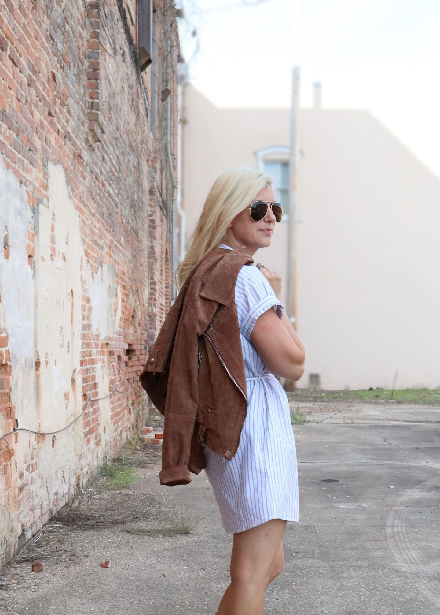 how to wear a leather jacket, styling a shirtdress, settling southern
