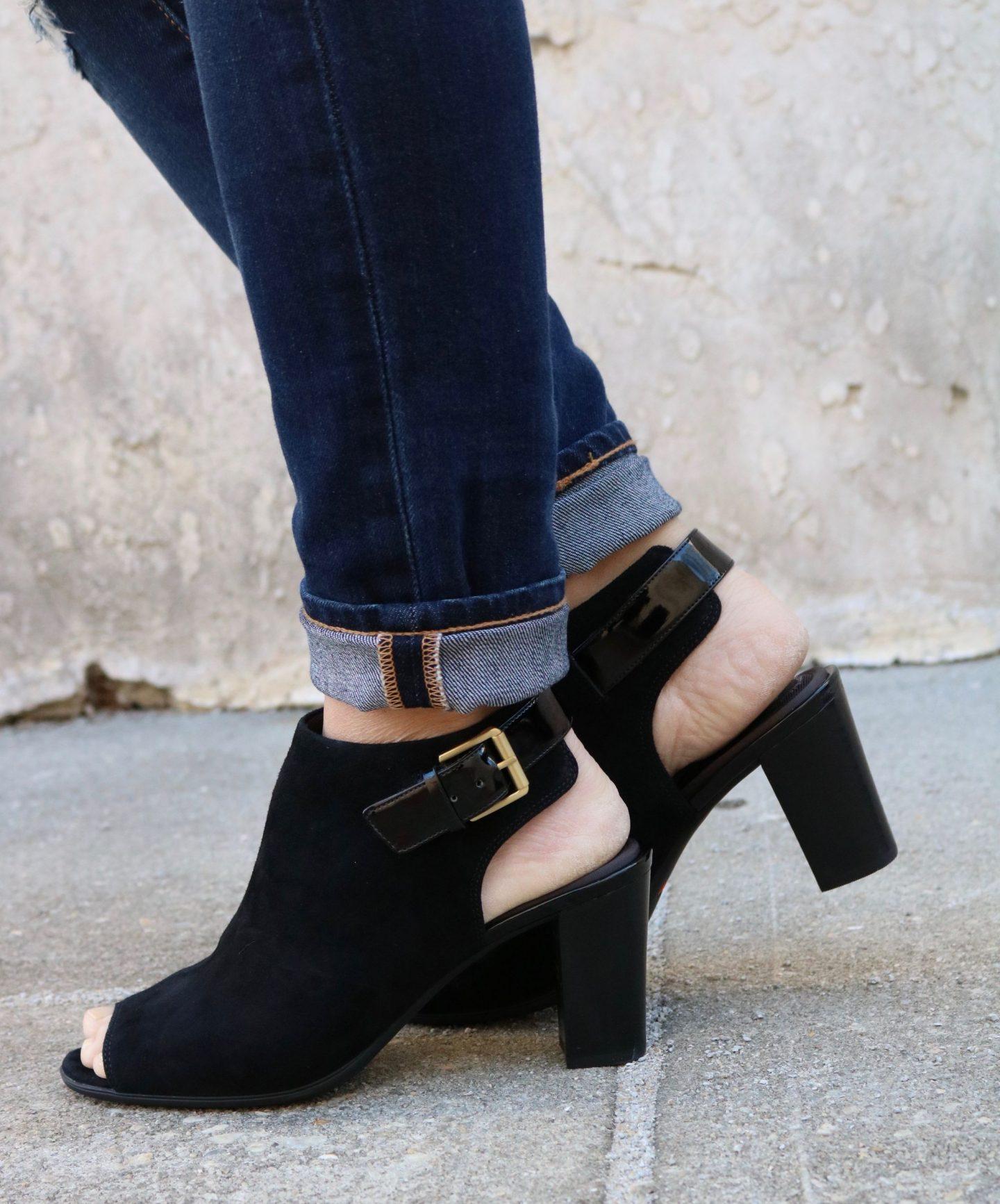 rockport heels with denim, settling southern, heeled sandals