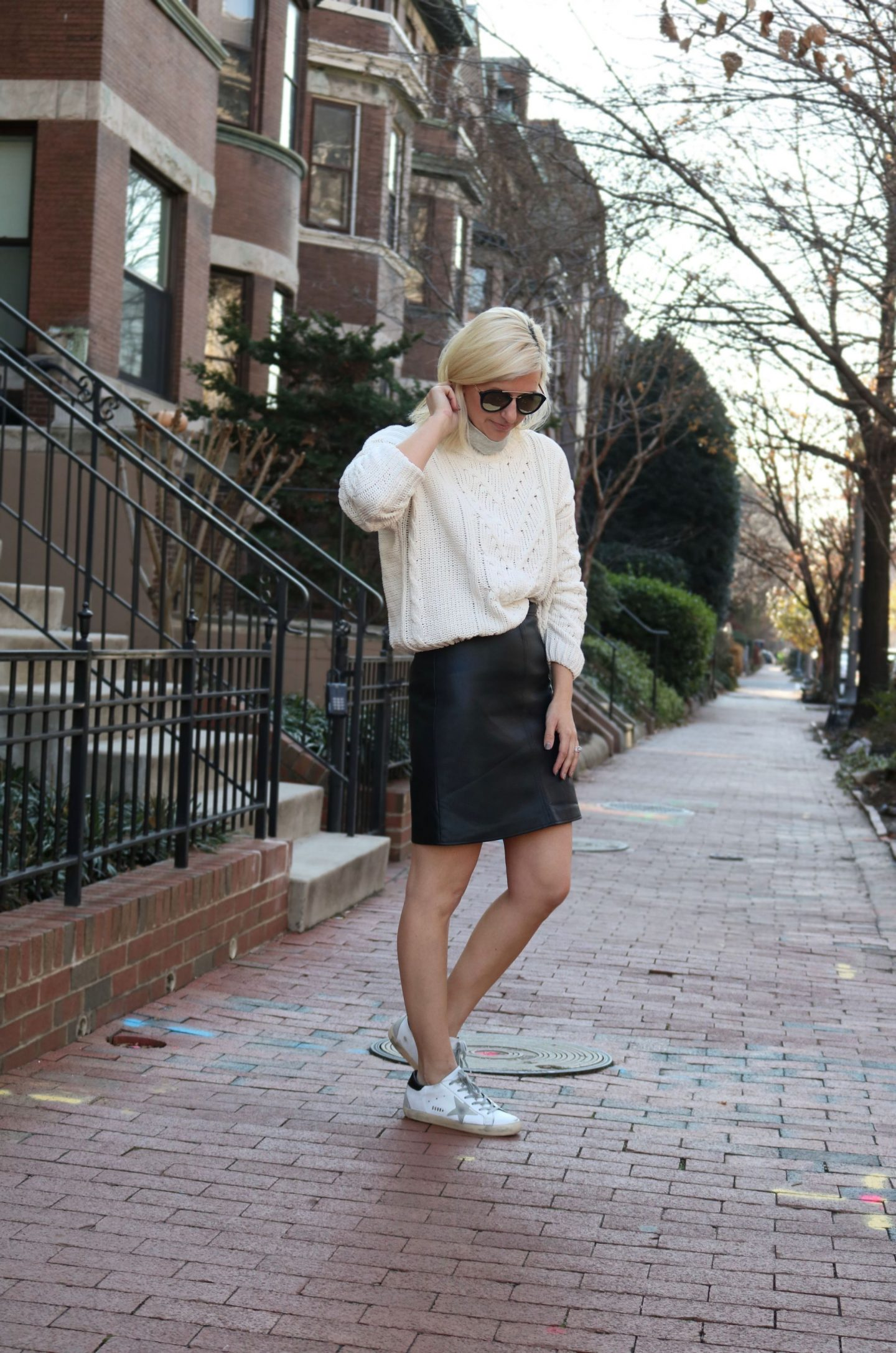 leather skirt, styling a leather skirt, golden goose sneakers