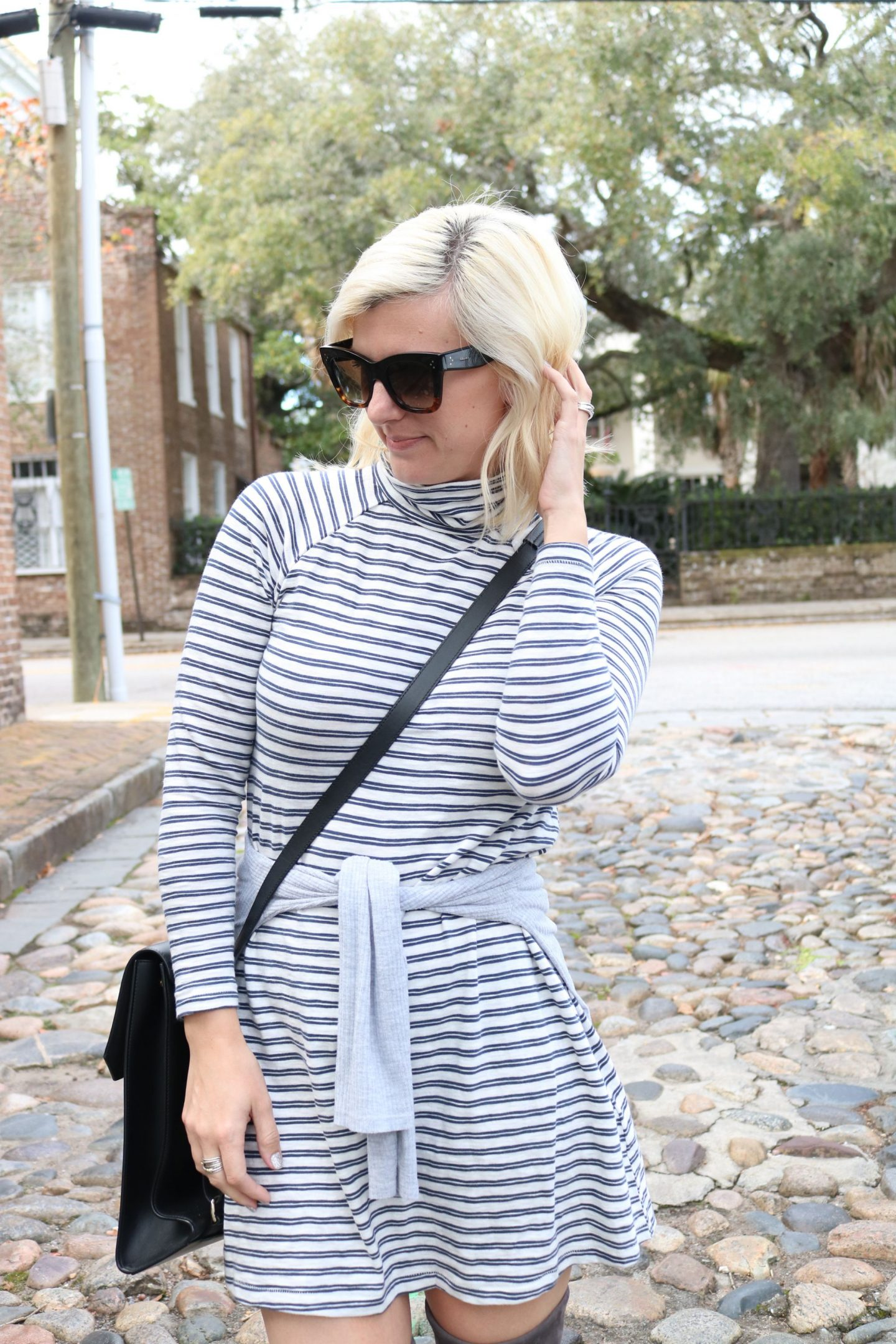 Abercrombie, Stuart Weitzman, Celine sunglasses, chandra keyser bag, striped turtleneck dress, charleston south carolina, settling southern