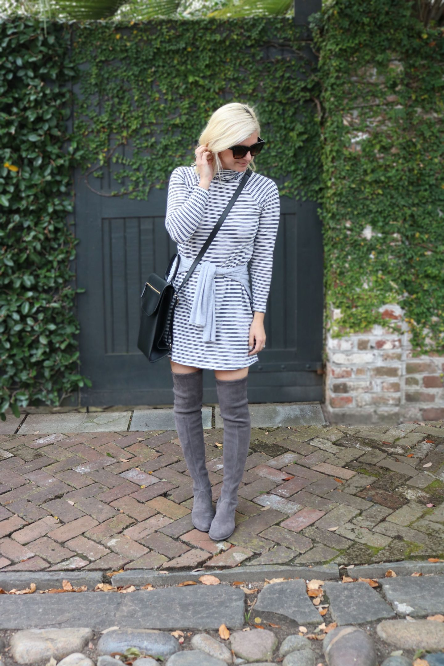 abercrombie striped dress, turtleneck, celine sunglasses, chandra keyser handbag, lowland stuart weitzman boots