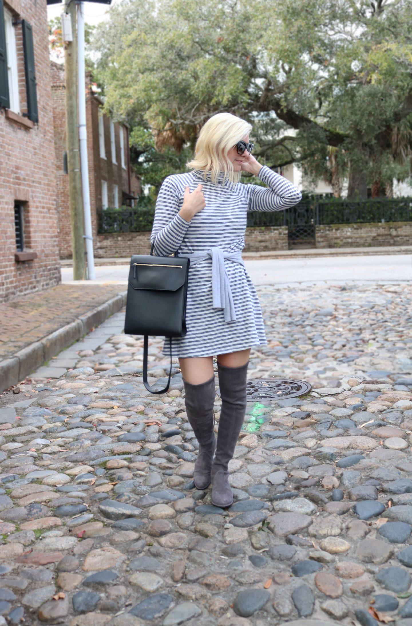 turtleneck striped dress, abercrombie, chandra keyser, #ootd, #lowlandboots, lowland stuart weitzman boots, #otkboots