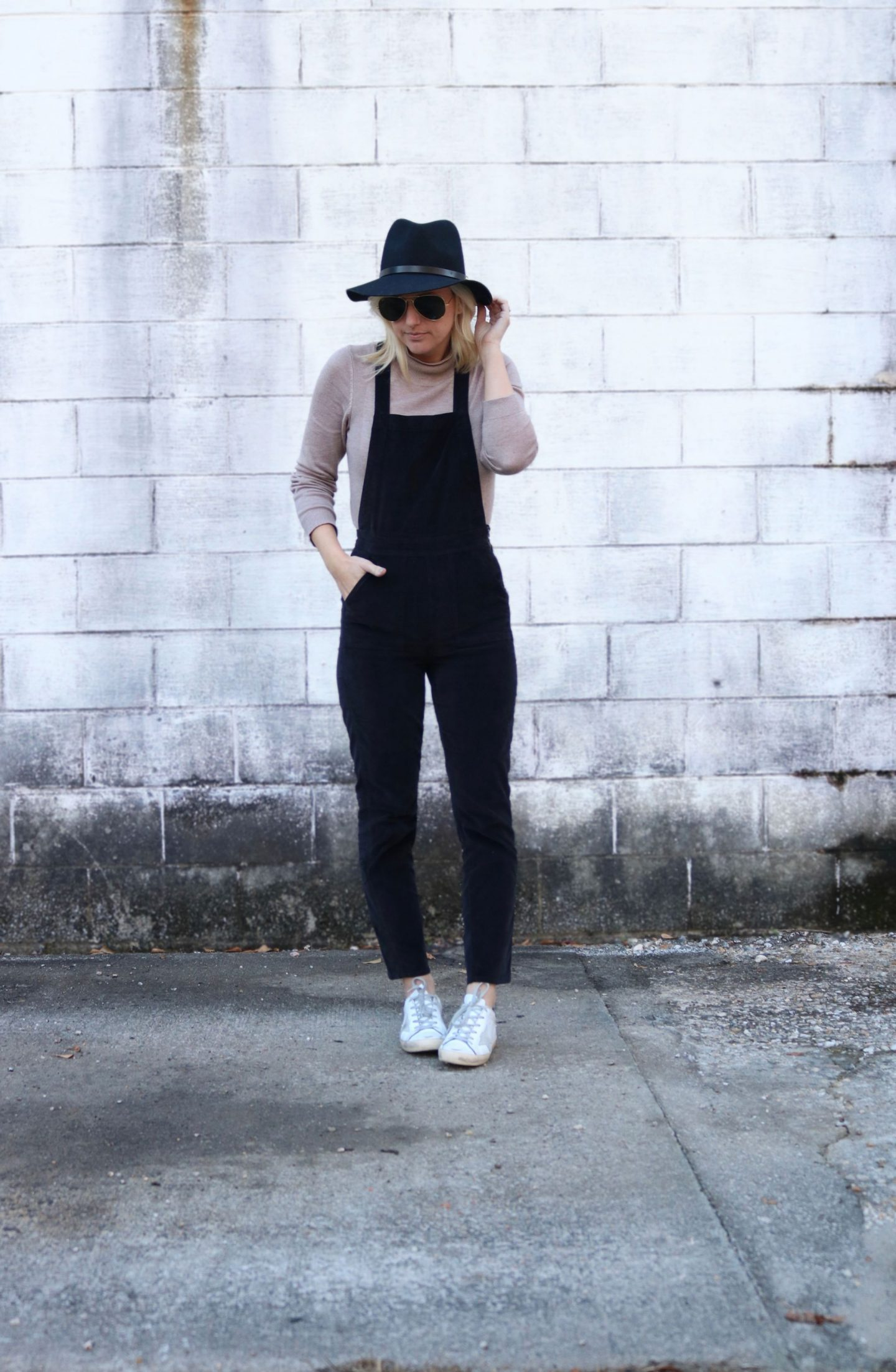 pairing sneakers with overalls, how to dress up overalls