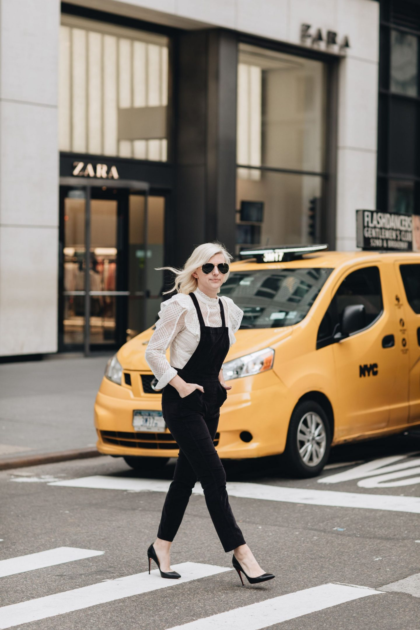 how to dress down louboutin heels, wearing heels in NYC, louboutin heels, how to dress up overalls