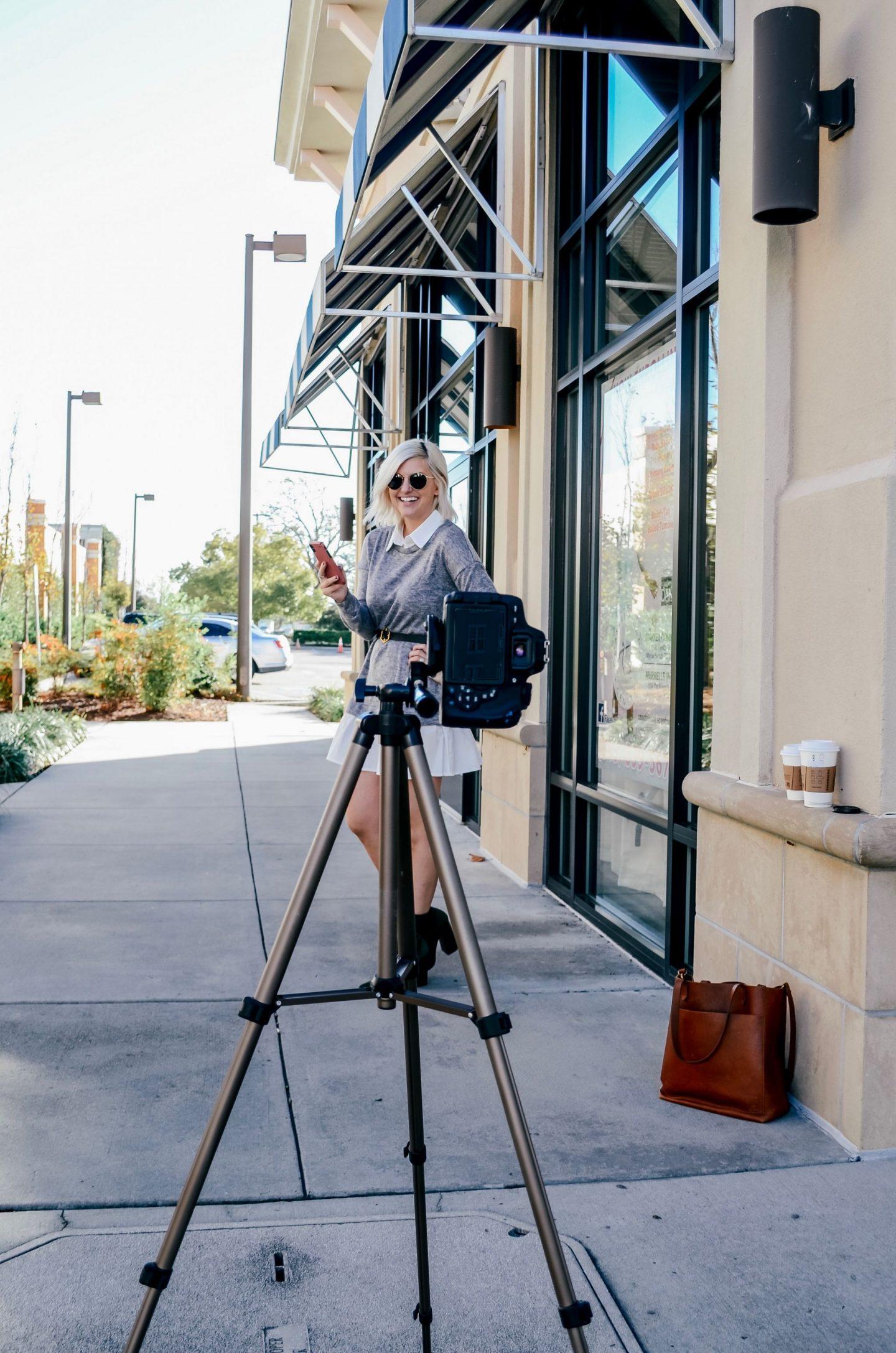 how to shoot a photo with a tripod, fashion blogger tripod shooting, amazon basics