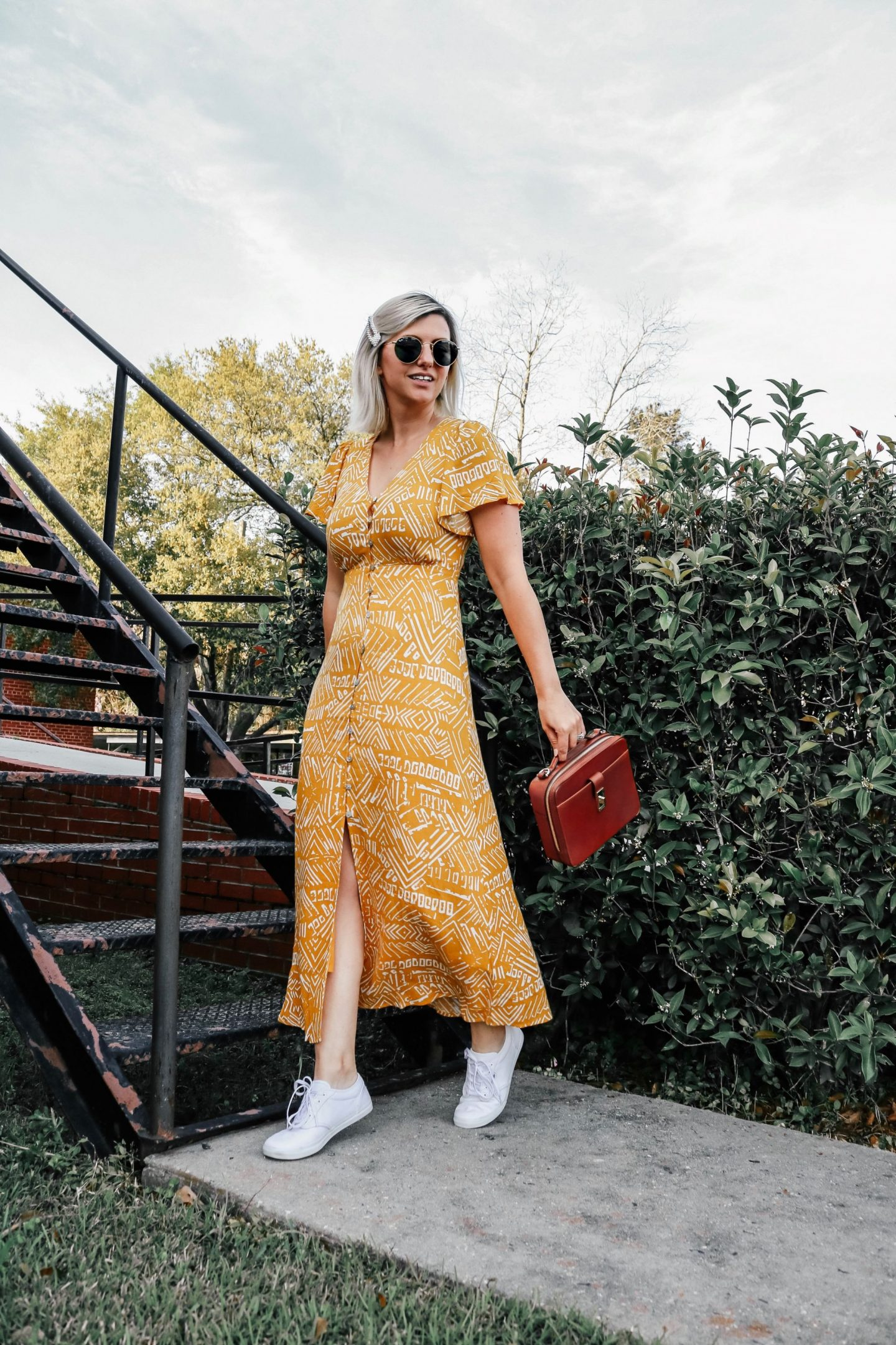 Brahmin Evie Bag, Brahmin, vans sneakers, wearing a maxi dress, editorial photo shoots