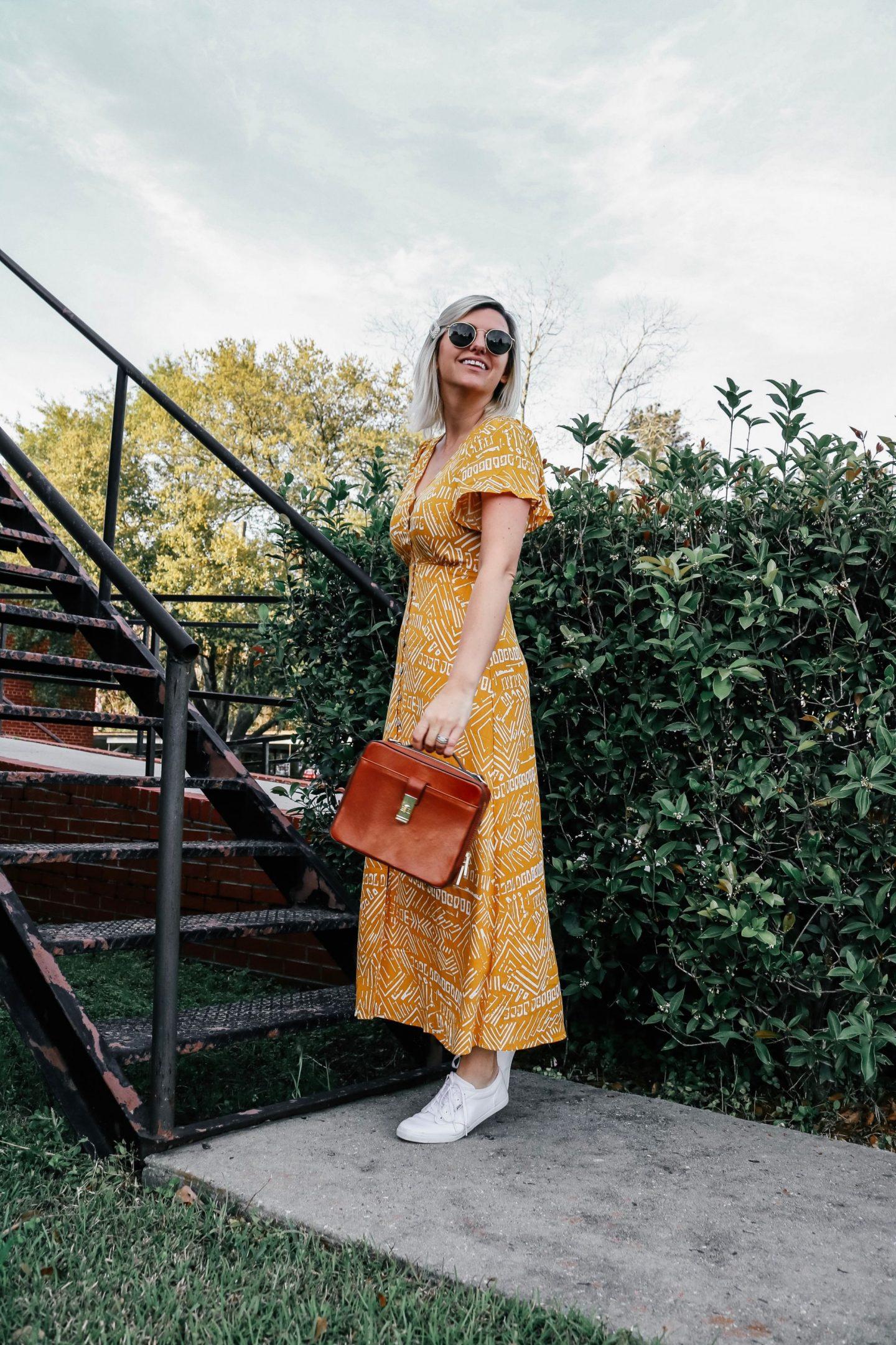 brahmin Evie bag, brahmin, forever 21 dress, vans sneakers
